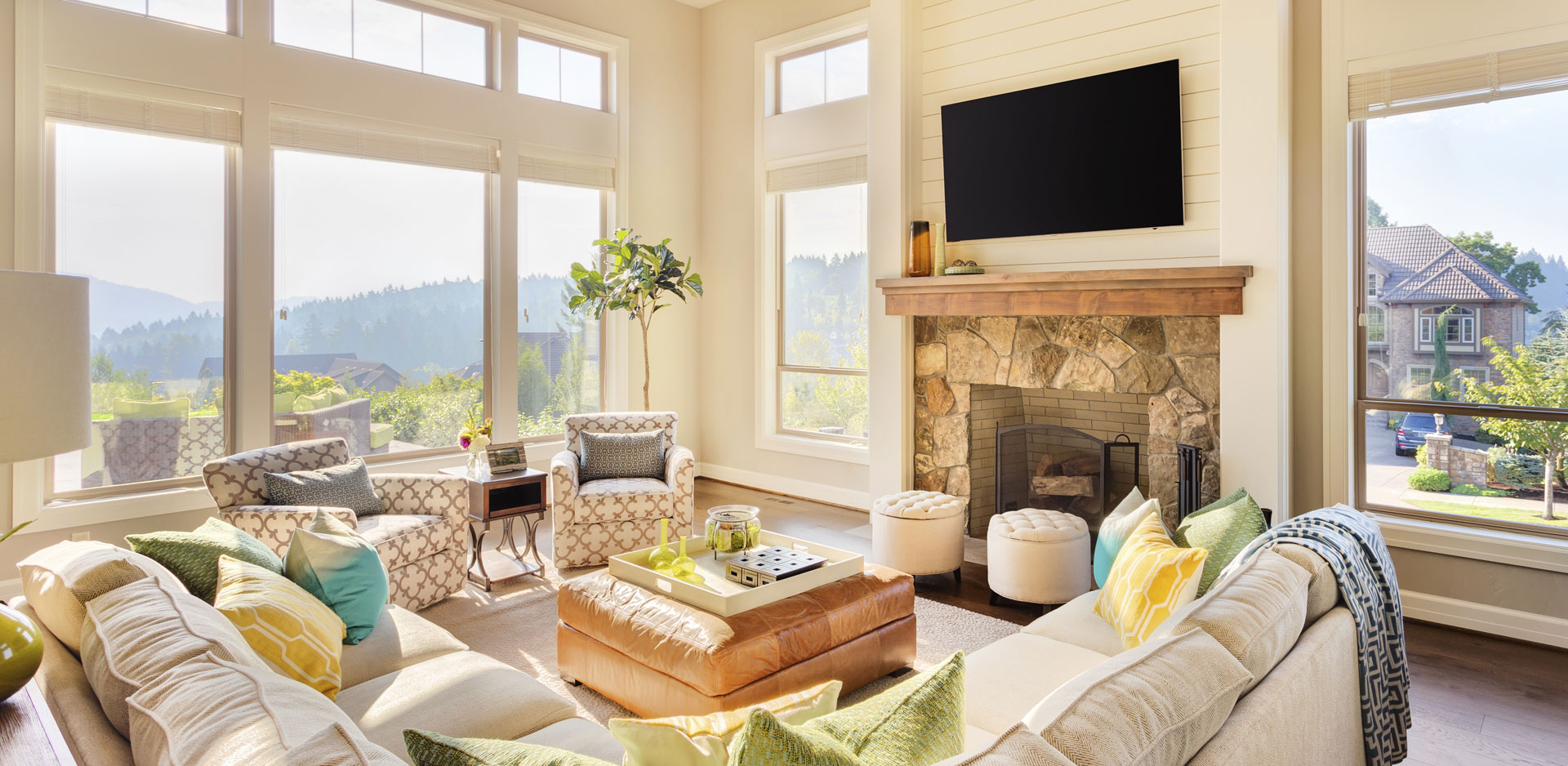 Country style living room with summer colors